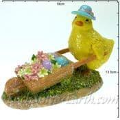 Spring Chick with Garden Wheelbarrow - 17cm