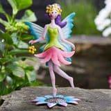 Standing  Metal  Spring Garden Fairy - Daisy-Lou (Green & Pink Dress)