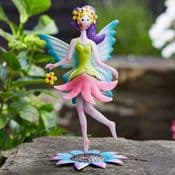 Standing  Metal  Spring Garden Fairy - Daisy-Lou (Green & Pink Dress)