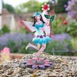Standing  Metal  Spring Garden Fairy - Jasmine -Jo (Blue & white Dress)