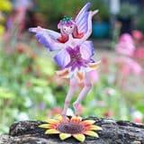 Standing  Metal  Spring Garden Fairy - Rosie- Lee (Pink Dress)