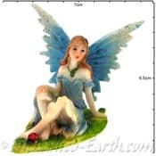 Summer Garden Fairy - 7.5cm - Blue wings & Ladybird