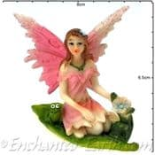 Summer Garden Fairy - 7.5cm - Pink wings & a Frog & Flower
