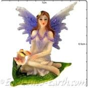 Summer Garden Fairy - 7.5cm - Purple wings & Butterfly