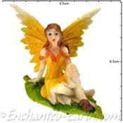 Summer Garden Fairy - 7.5cm - Tangerine  wings & Snail