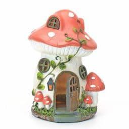 Tall Mushroom Manor - Solar - LED Colour changing Fairy House.