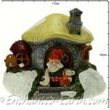 The Christmas Garden  - Light up -  LED Gnome Home - Lemon Roof Mushroom Fairy House - 16cm