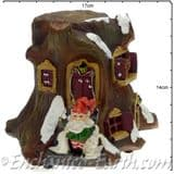 TheChristmas Garden - Light up - LED Gnome Home -  Tree  House  with Gnome & Bunny- 14cm tall