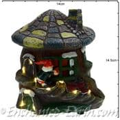 TheChristmas Garden - Light up - LED Gnome Home -  Tree  House  with  Stone Mushroom Roof - 14cm