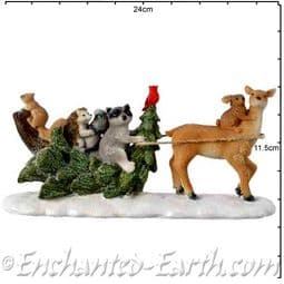 The Festive Woodland Deer with Christmas Tree & animals - 24.5cm