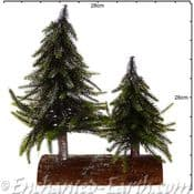 The Festive Woodland - Double Christmas Tree Decoration on a real log. - 28cm