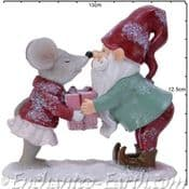 The Woodland  Christmas Gnome & Mouse - 12cm