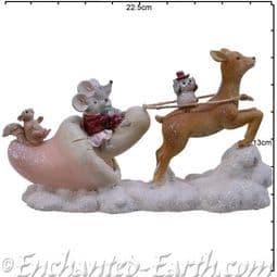 The Woodland  Christmas Gnome & Pals - Pink Christmas Mushroom Sleigh - 22.5cm.
