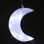 Trade pack of 10 Hanging frosted white glass moon, with LED lights