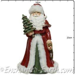 Vintage Style -  Ceramic Santa  with Christmas tree & stocking - 23cm.