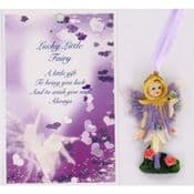 Vintage Style Hanging Fairy & Gift Card - Lucky Little Fairy.