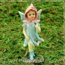 Vintage Style - Miniature Standing Flower Fairy - Bella  in Blue  - 7cm.