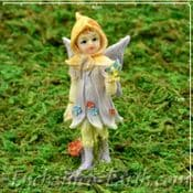 Vintage Style - Miniature Standing Flower Fairy - Pamie  in Purple  - 7cm