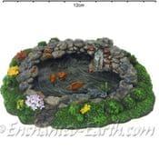 Vivid Arts Miniature World- Mini Rock Pond with Koi-Fairy Garden Pool - 13cm