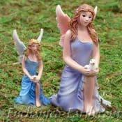 Vivid Arts Miniature World Plus Size- Blue Kneeling Fairy with Dove-7cm