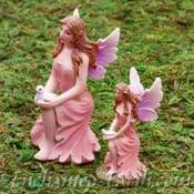 Vivid Arts Miniature World Plus Size- Pink Kneeling Fairy with Dove-7cm