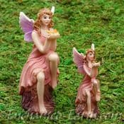 Vivid Arts Miniature World Plus Size- Pink Tree Stump Fairy with Butterfly - 8-5cm