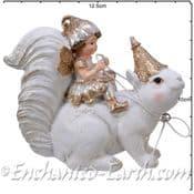 White & Gold  Fairy & Squirrel  - 11cm