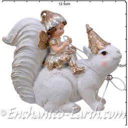 White & Gold  Fairy & Squirrel  - 11cm.