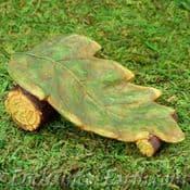 Woodland Knoll Fairy Garden -  Leaf Sun Lounger