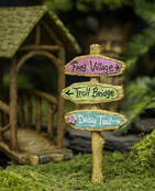 Woodland Knoll - Fairy Garden Sign Post - Fairy Village, Troll Bridge & Daisy Trail