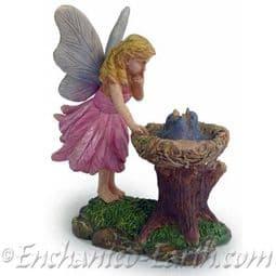 Woodland Knoll - Fairy with Blue Bird Nest.