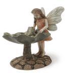 Woodland Knoll - Fairy with Frog in a Bird Bath