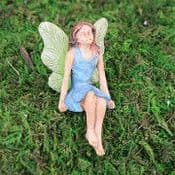 Woodland Knoll - Sitting Fairy with Blue Dress