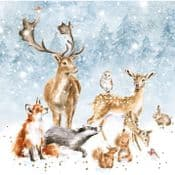 Wrendale Designs Cards - Pack of 8 - Luxury Gold foiled Chritmas Cards - British Wildlife Cards