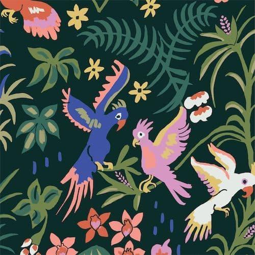 Cockatoos Black - Garden of Eden - Cloud9 Fabrics