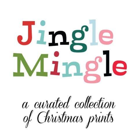 Fat or Long Quarter Bundle - Jingle Mingle + Turquoise Cirrus Solid