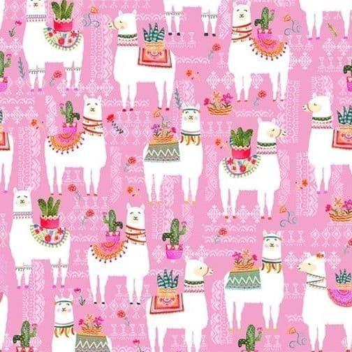 La Llama Pink - La Vida Loca - Michael Miller Fabrics