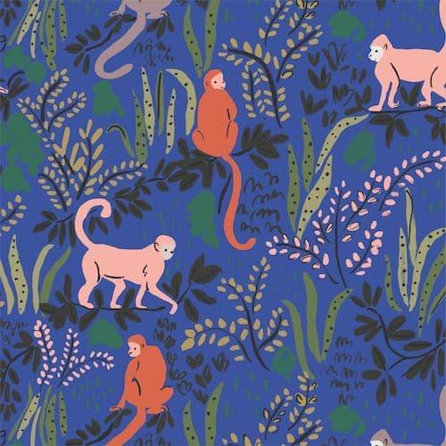 Monkeys Blue - Garden of Eden - Cloud9 Fabrics
