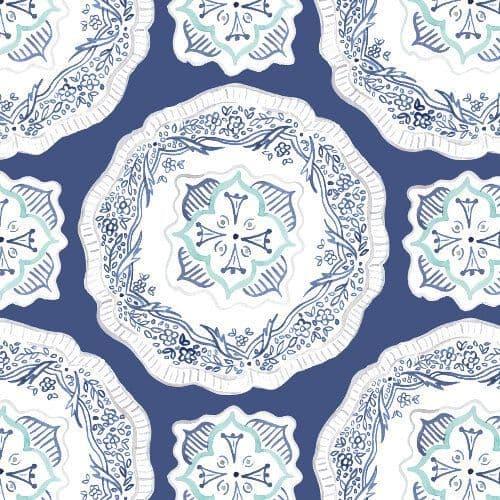Navy Plates - Emma's Kitchen -100% GOTS Organic Cotton
