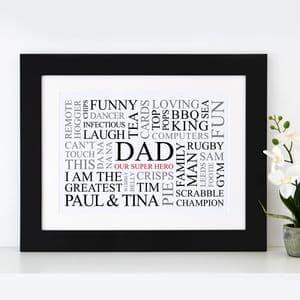 Dad's Favourites Word Art Print