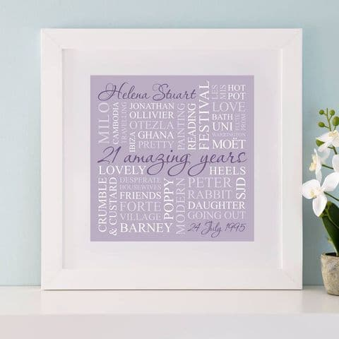 Personalised 21st Birthday Square Word Art