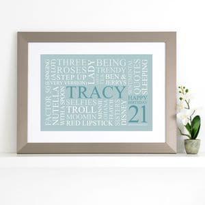 Personalised 21st Birthday Word Art