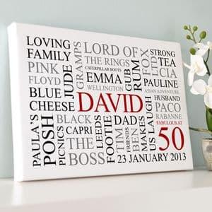 Personalised 50th Birthday Word Art