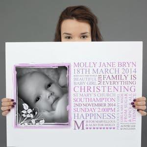 Personalised Baby Christening Art Gift
