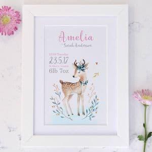 Personalised Baby Deer Birth Announcement Art