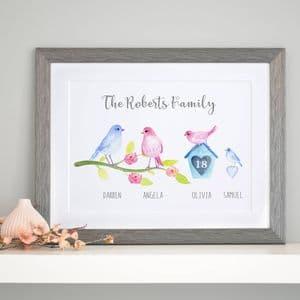 Personalised Birdie Family Art