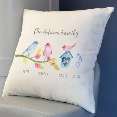 Personalised Birdie Family Cushion