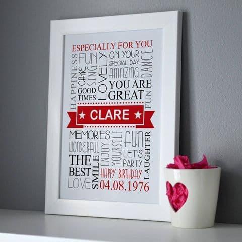 Personalised Birthday Framed Print