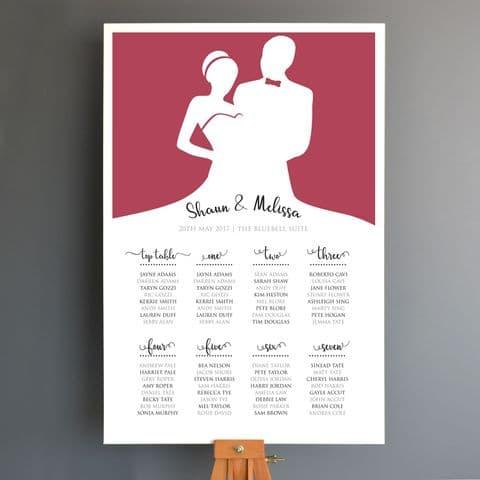 Personalised Bride And Groom Wedding Seating Plan