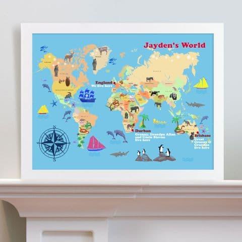 Personalised Child's World Map Print